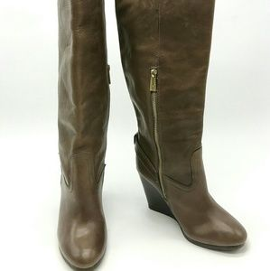 Coach Leather Knee High Wedge Boots